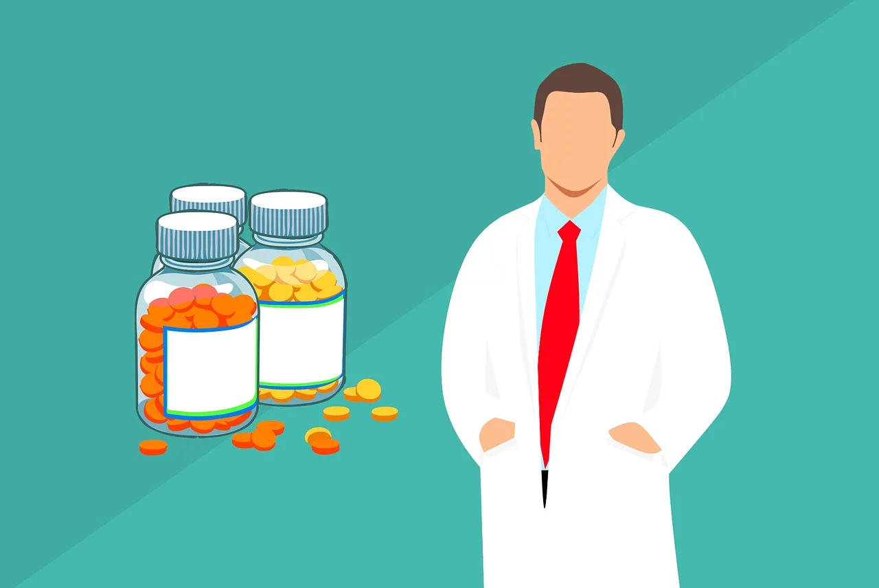 pharmacist with two bottles of medication