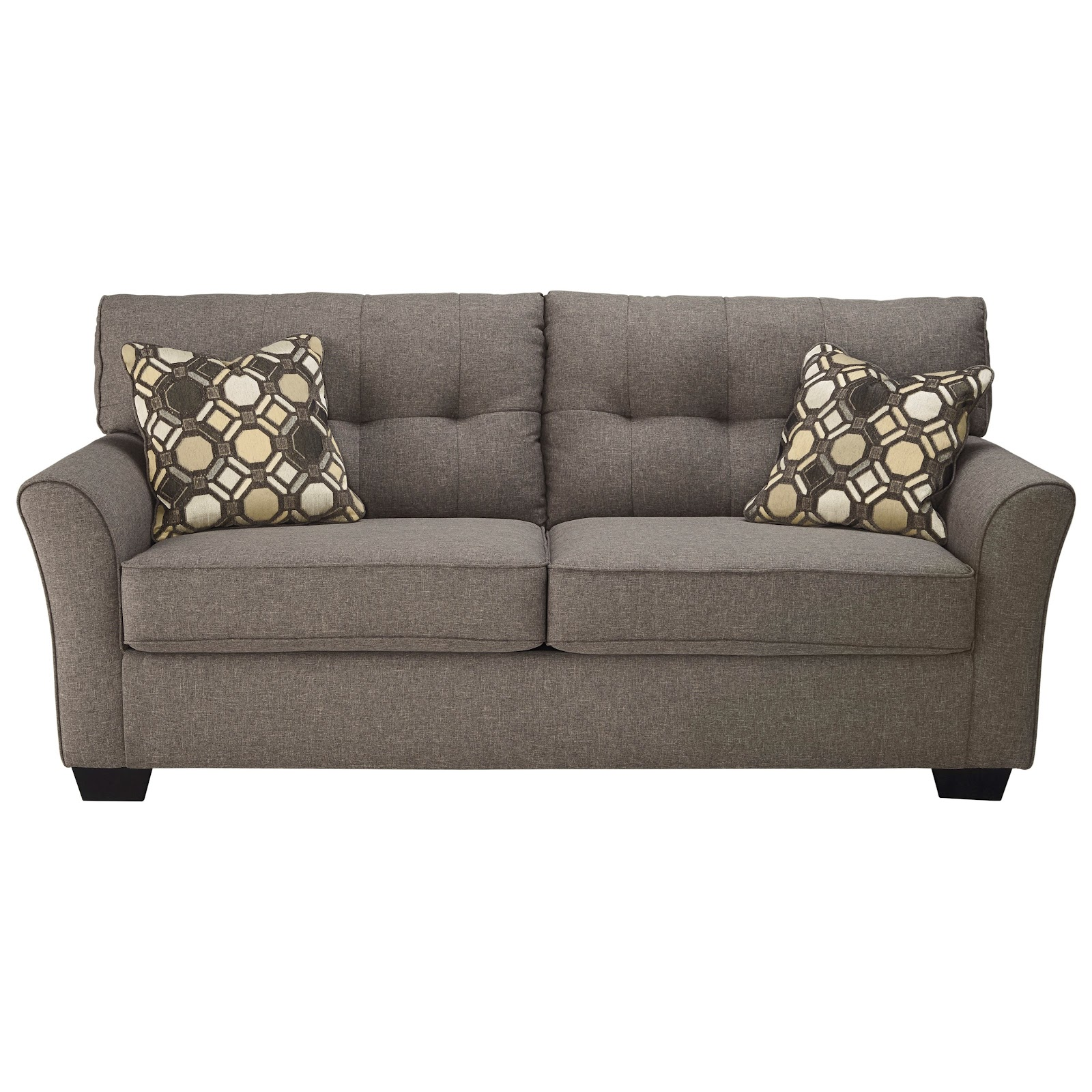 Sleeper sofas look just like normal sofas. Futons, on the other hand, tend to look like folded beds. Futons also tend to be easier to setup as beds compared to sleeper sofas. Image from dunkandbright.com.