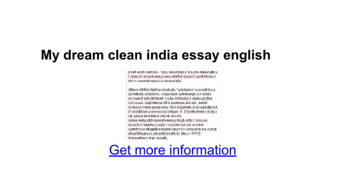 My dream about india essay