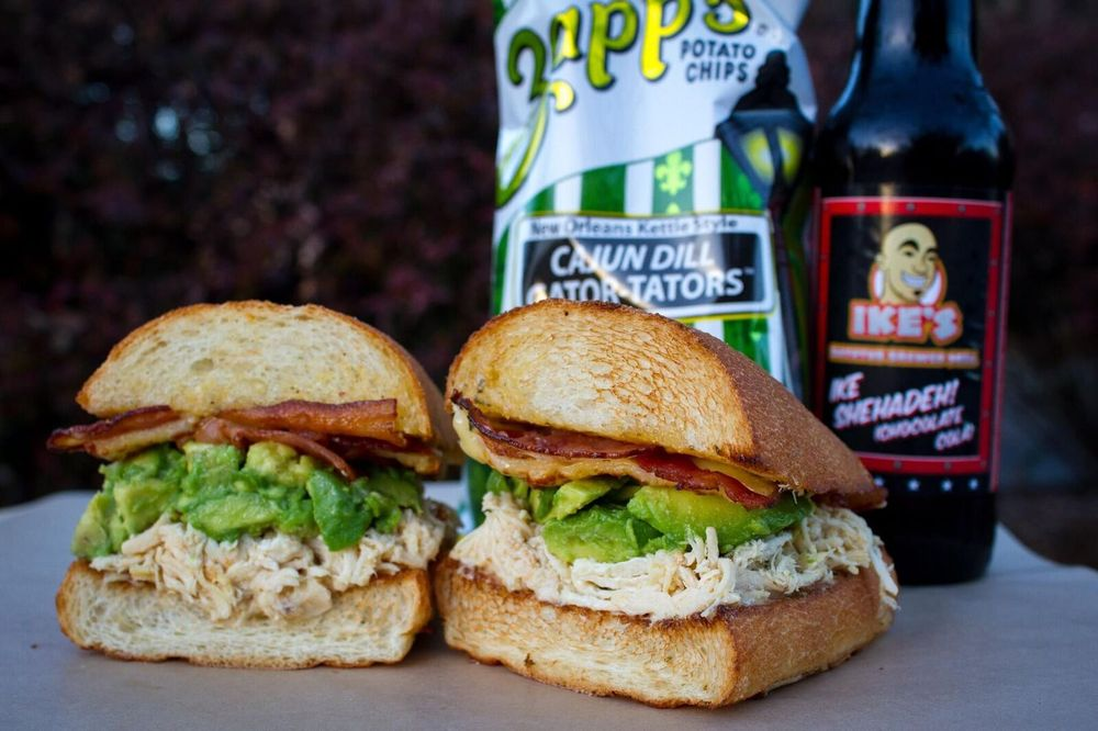 Photo of sandwich with bacon, turkey and avocado from Ikes Place in Los Angeles, CA.