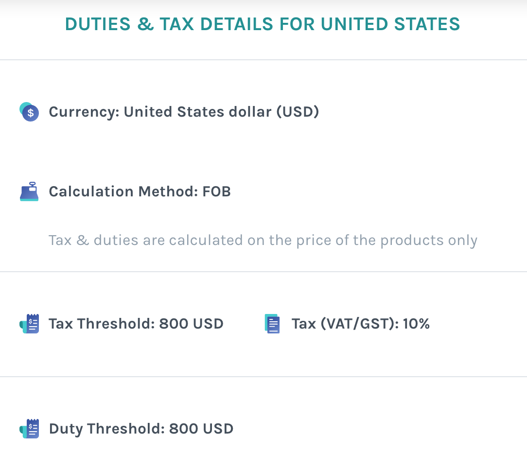 Duties and Tax for United States