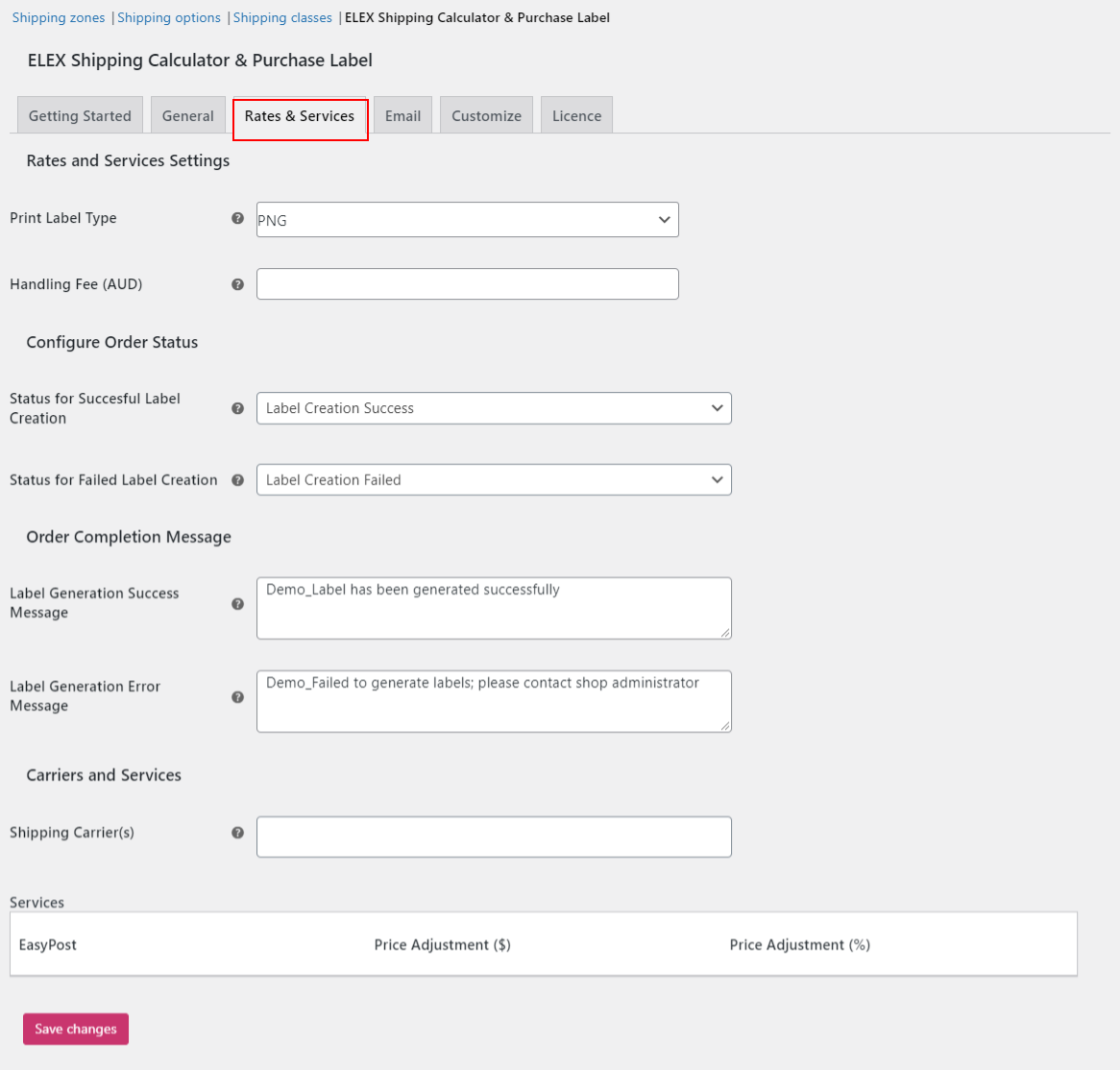 Shipping Calculator, Purchase Shipping Label & Tracking for Customers | Rates and Services settings
