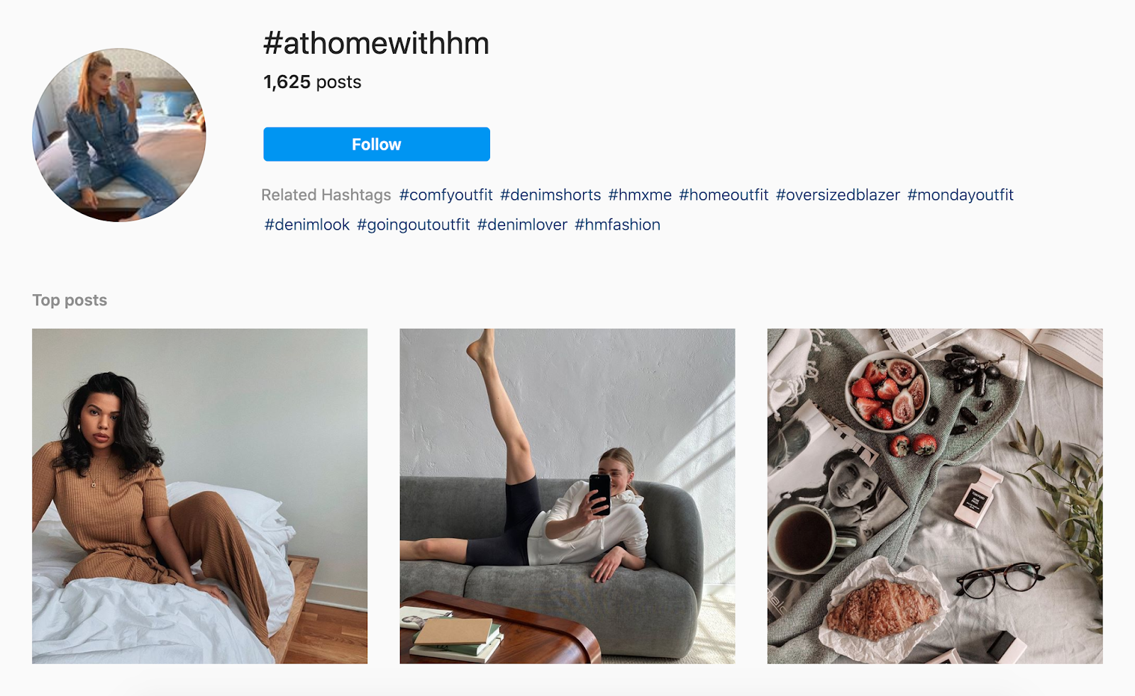 hashtag #AtHomeWithHM sur Instagram