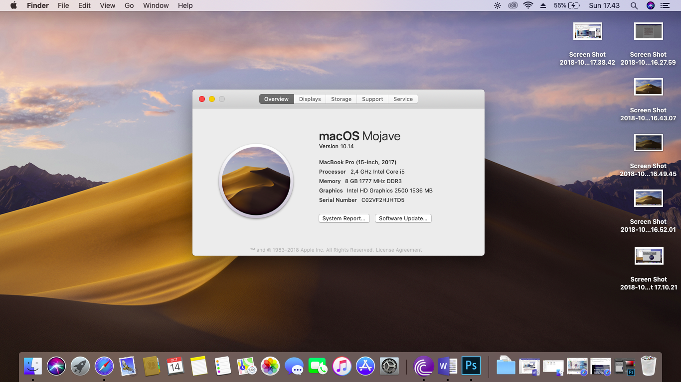 system overview macOS Hackintosh Mojave Lenovo g400