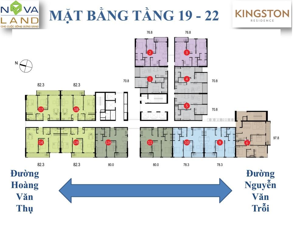 mặt bằng căn hộ kingson tầng 19 - 22