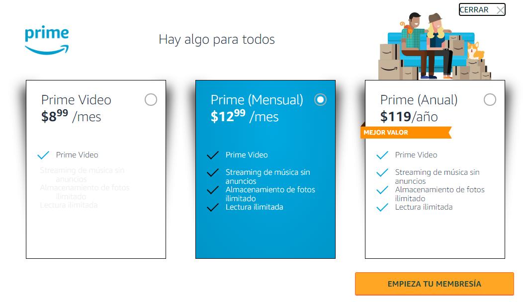 Actualmente Amazon Prime tiene dos planes mensuales y un plan completo anual. El primer plan mensual es de 9 dólares; el segundo es de 13 dólares; y el plan anual es de 119 dólares.