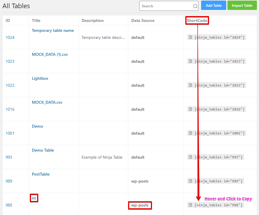 Online data tables for website