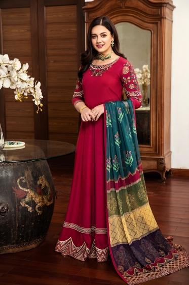 42101463-Embroidered Riyan Silk,Chiffon Luxury Unstitched-3PC