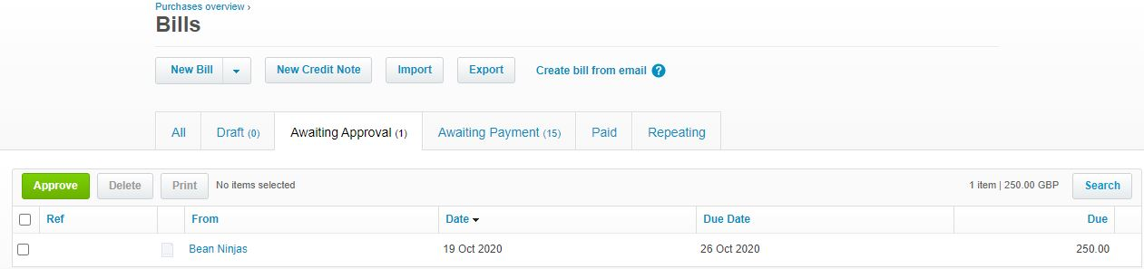 invoices are approved by the purchaser in Xero before they are paid