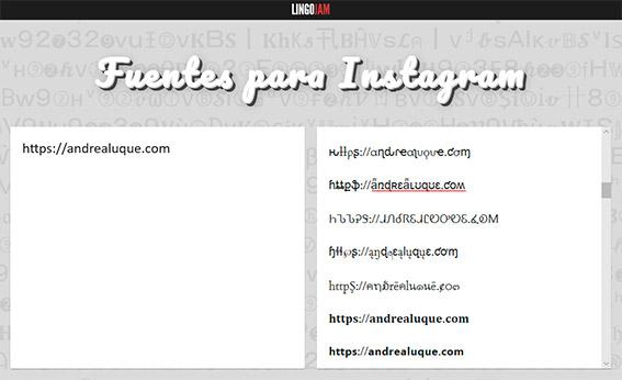 Herramienta online para cambiar el formato y la tipografía en Instagram