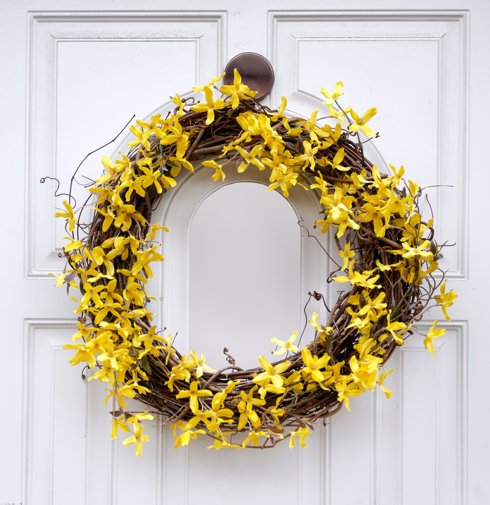 Spring wreath on door