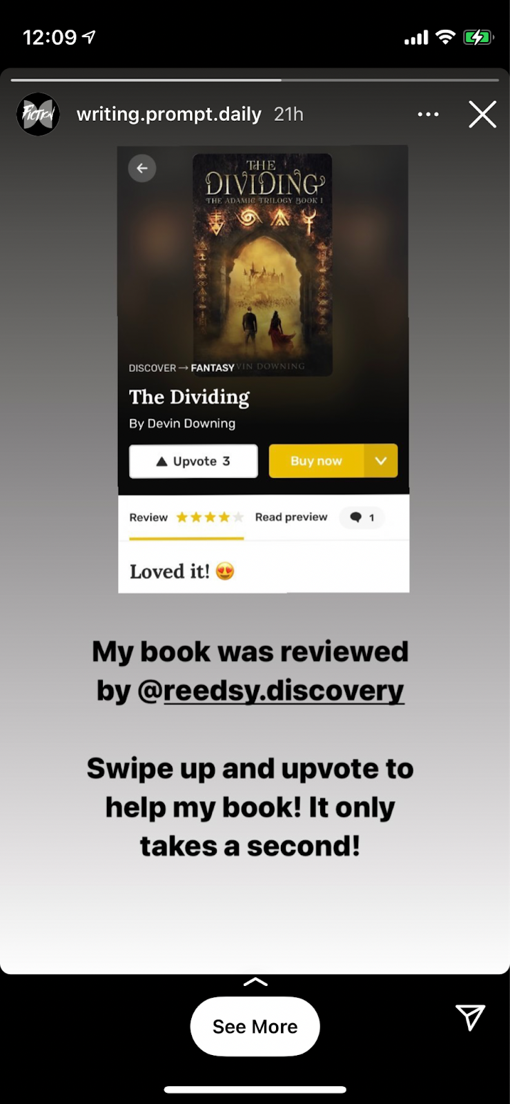 Screenshot of Instagram account Writing Prompts Daily using Swipe Up feature
