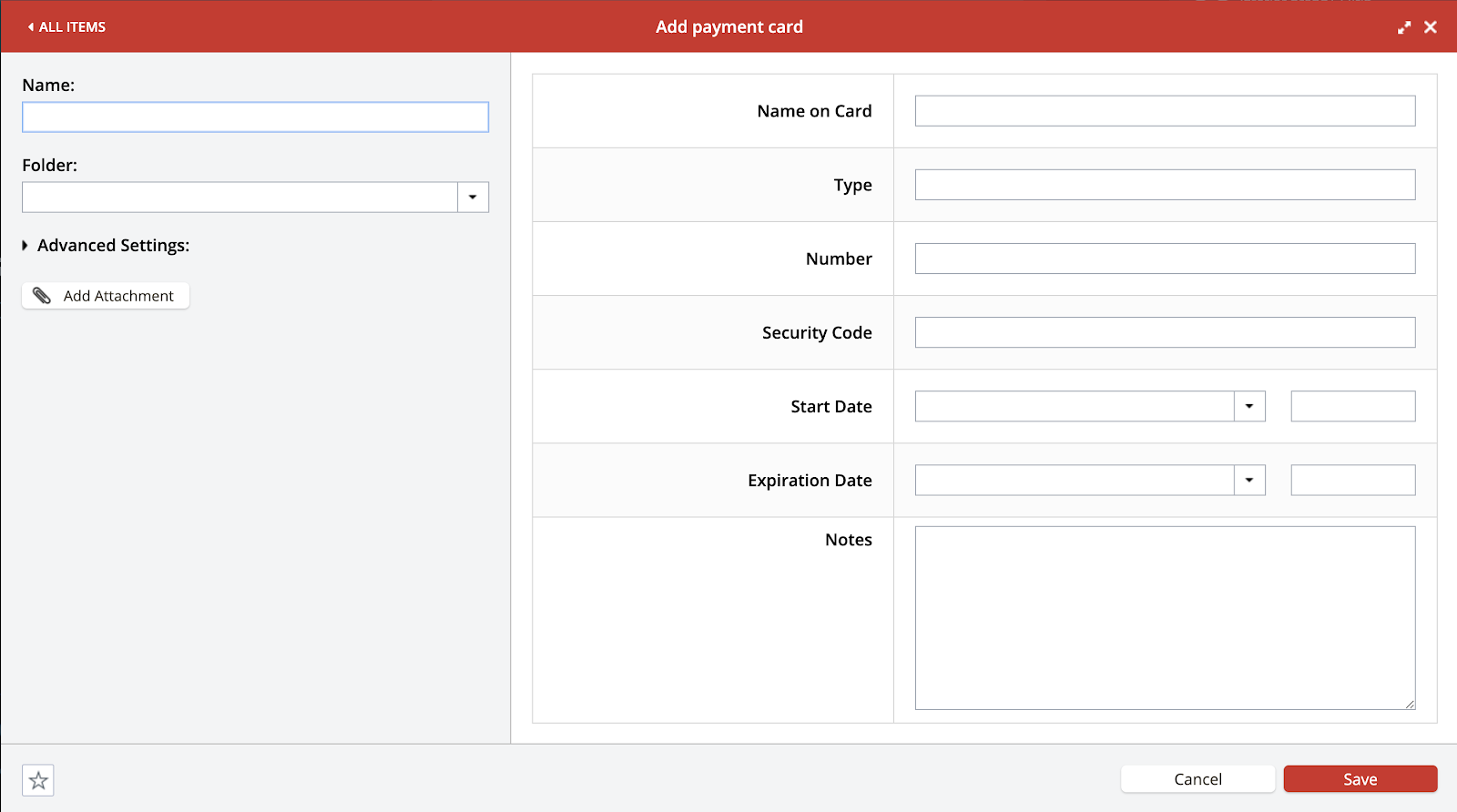 Form to add a new payment card to LastPass password manager, shown in Chrome browser. Part of the article by Hana Clode Marketing 'LastPass Password Manager - Apps to Make Your Life Easier'.