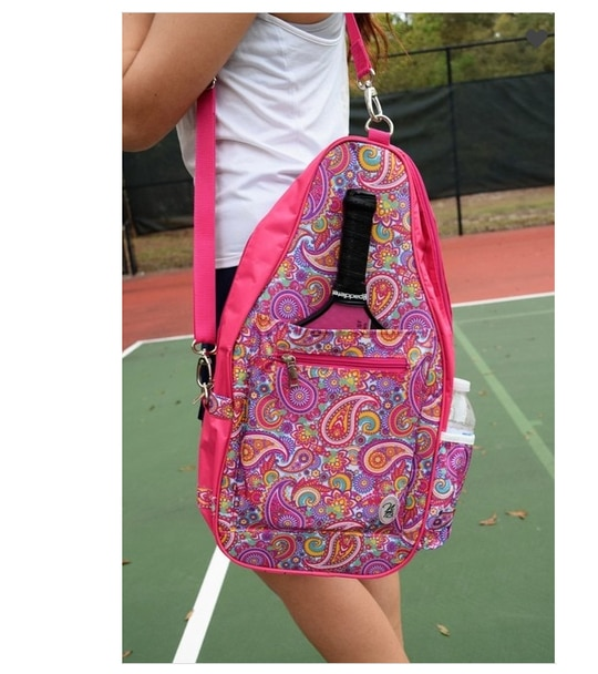 Ladies Printed Pickleball Sling Bag - Ainsley (Pink Paisley) - New | Designed Expressly for Pickleball