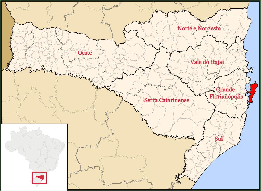 Mapa de Santa Catarina (Wikipédia/Reprodução)