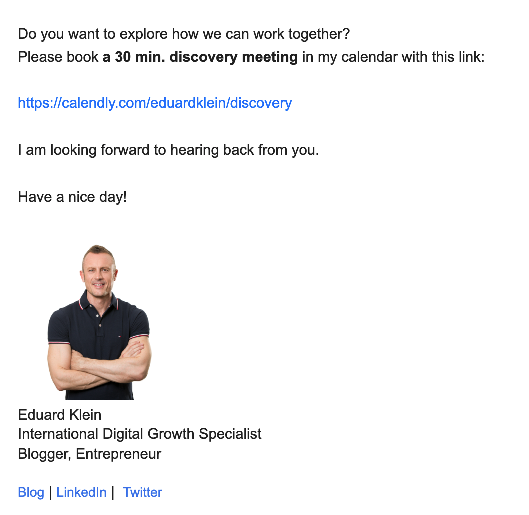 Call to action example end of email