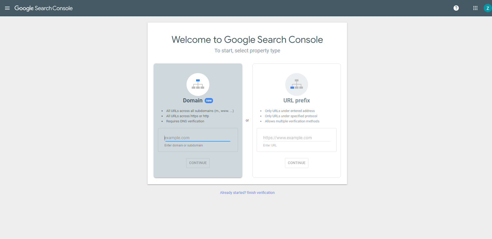 Google Search Console set up page
