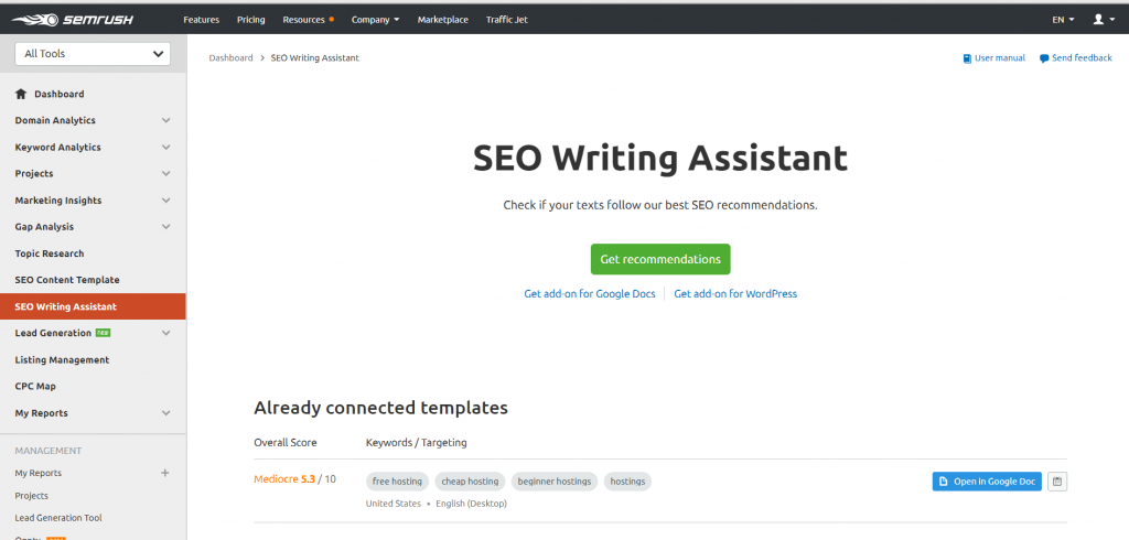 semrush writing assistant blogging tools