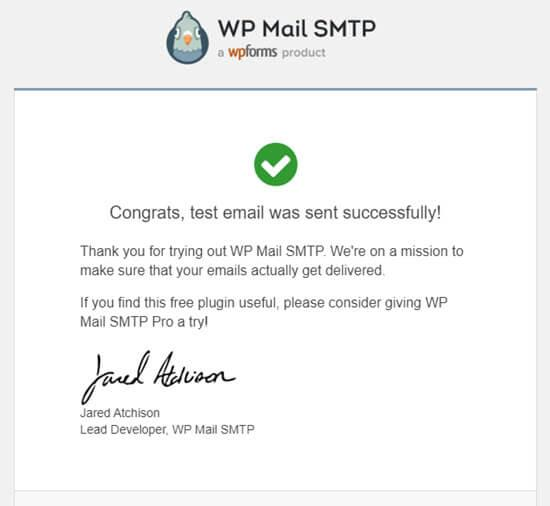 Confirmation message for test email