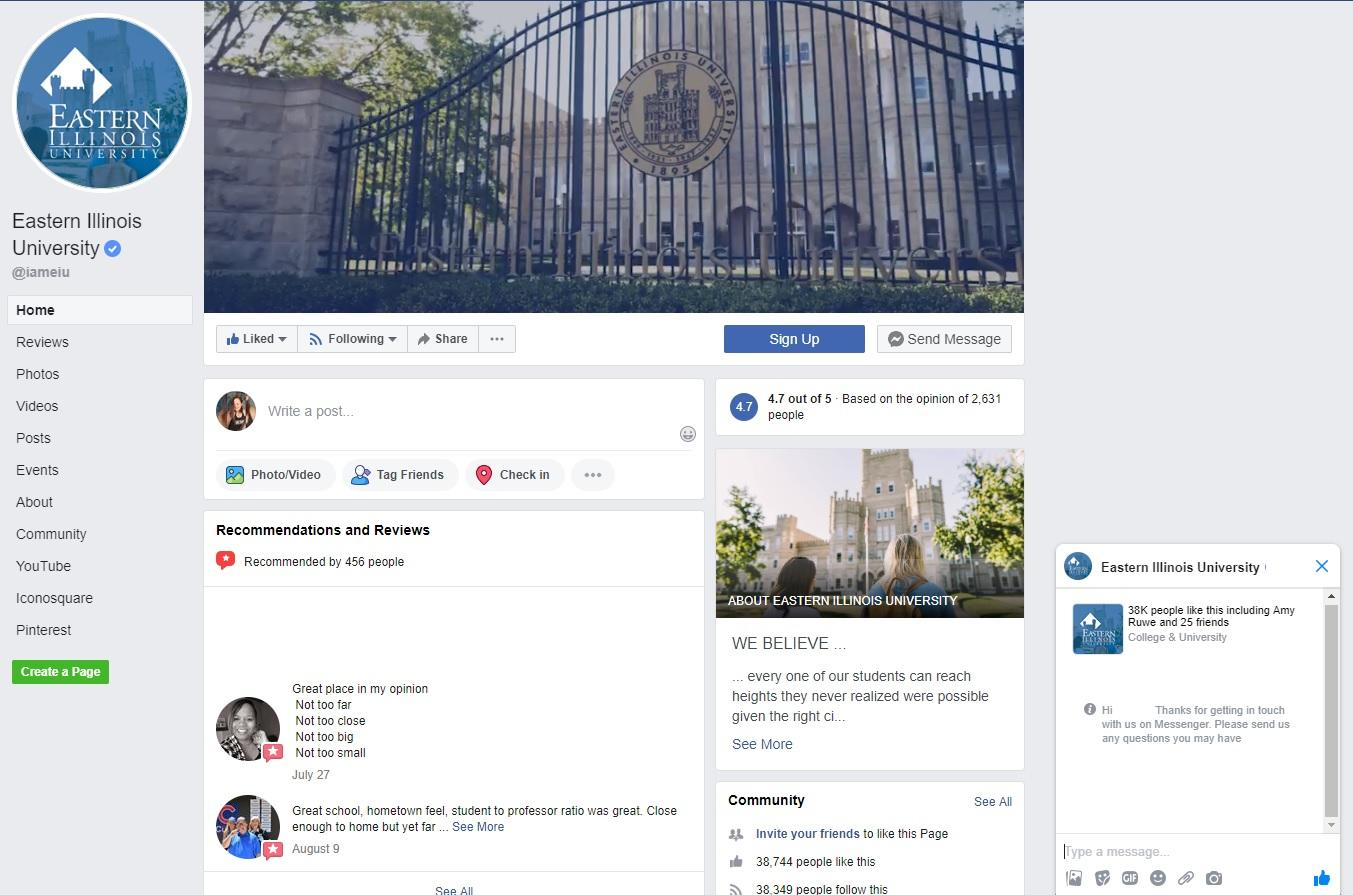 Eastern Illinois University offers prospects plenty of ways to connect via their Facebook page