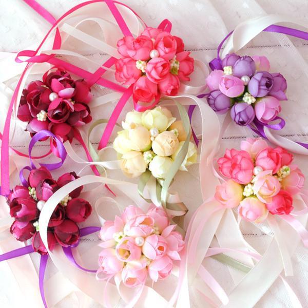 Купить Оптом Элегантные Шелковые Ленты Цветы Свадебные Наручные ...