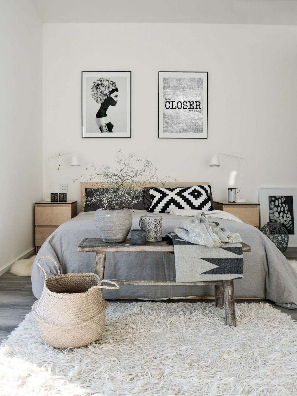 Inspirasi kamar tidur Scandinavian dengan sentuhan gaya rustic - source: pinterest.com