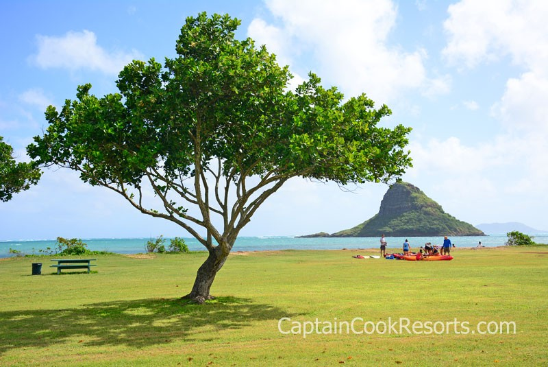 View of Chinaman's Hat from Kualoa Regional Park
