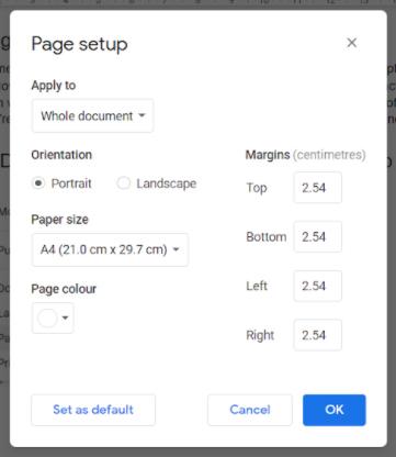 page setup google docs