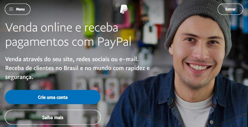 página inicial do PayPal para fazer pagamentos online