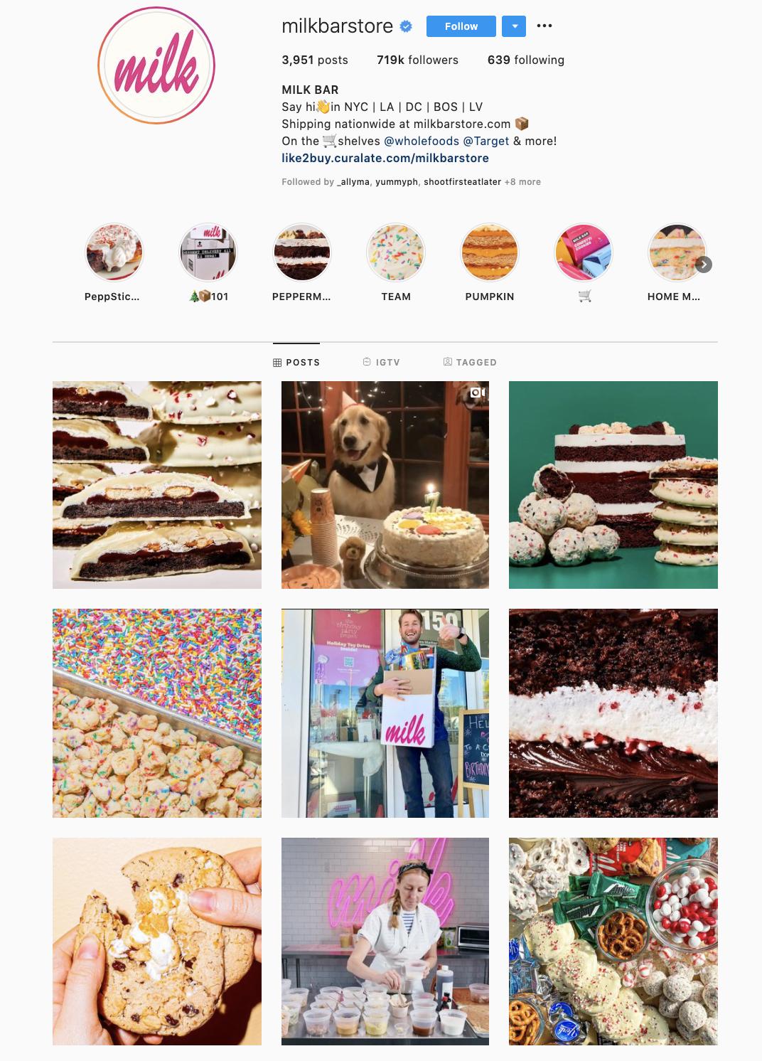 instagram content strategy milkbarstore