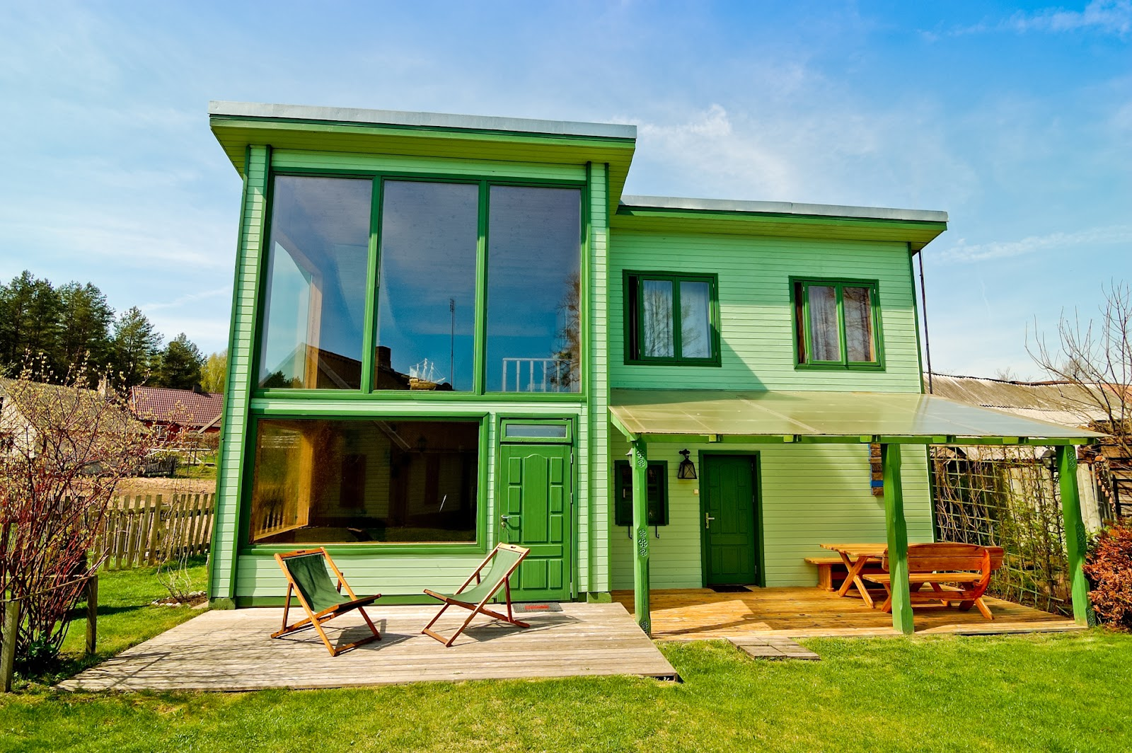 Colorful green paint on home