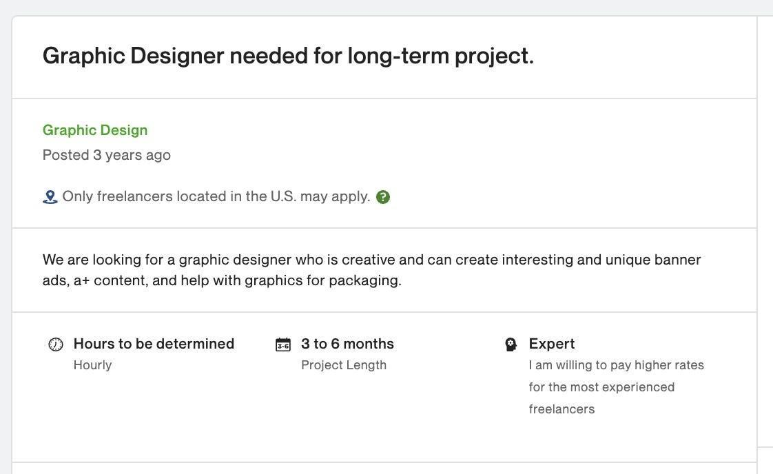 screenshot of an Upwork job posting