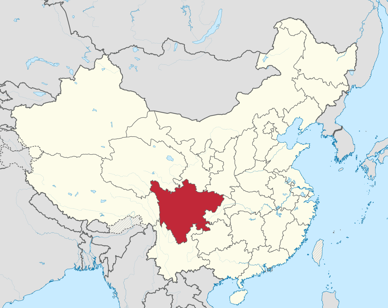 Sichuan province in China is home to a large number of Bitcoin miners due to the low cost of hydroelectric power. Source: Wikipedia.