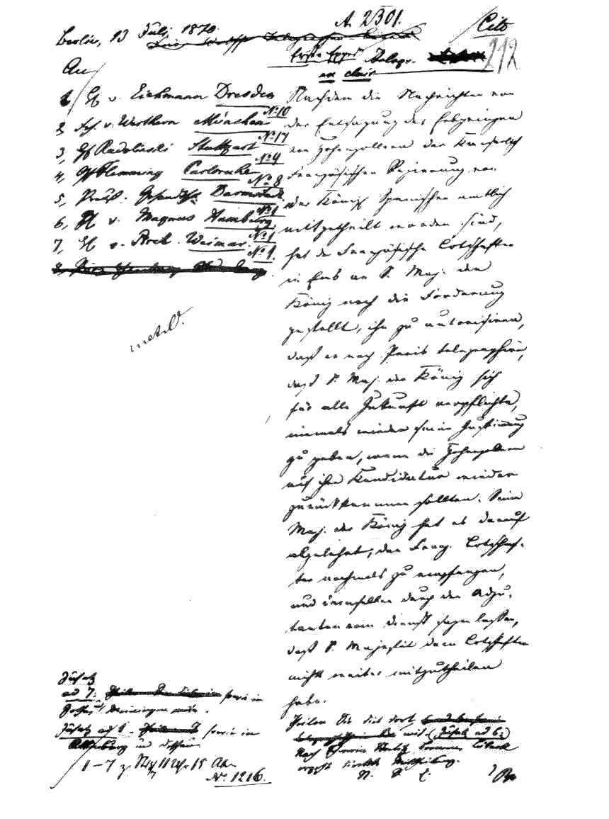 Dispaccio di Ems Una copia in bianco e nero del testo alterato del dispaccio di Ems.