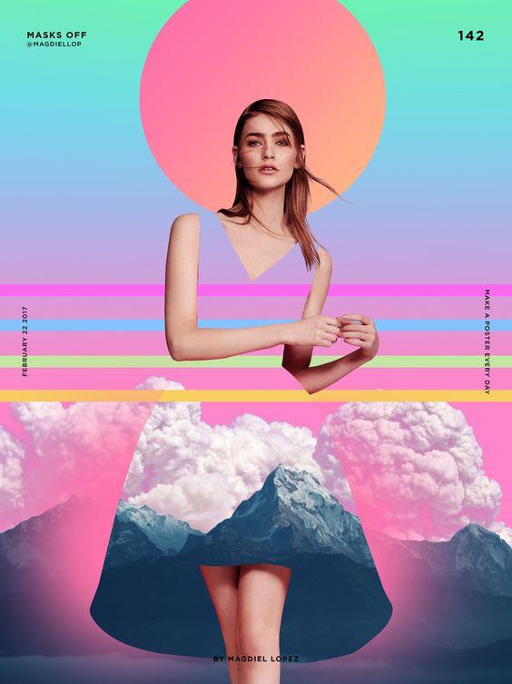 Ilustração de mulher sobre fundo de cores em gradiente.