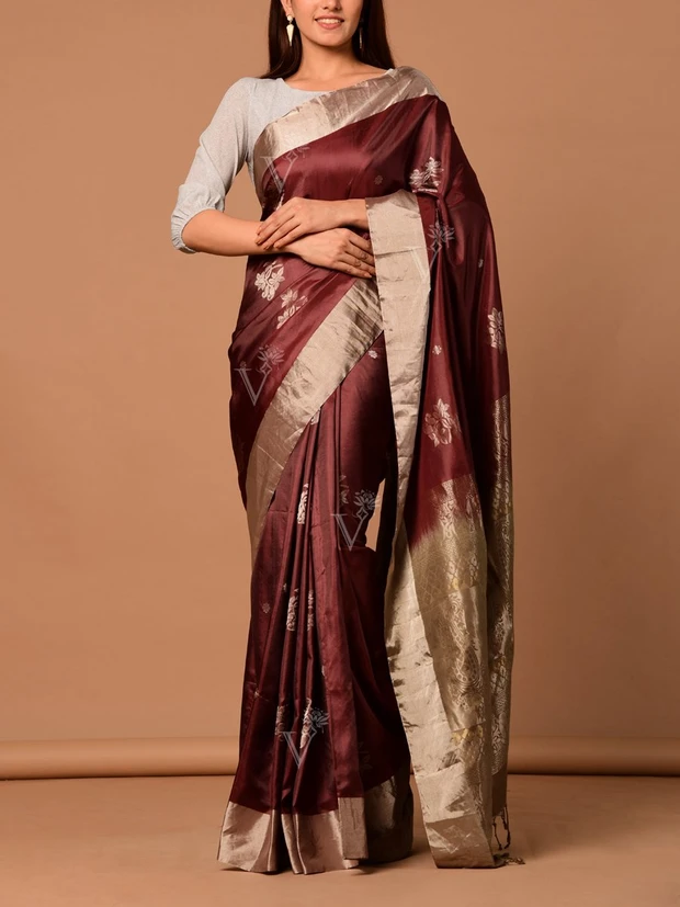 Onion Banarasi Silk Handloom Saree