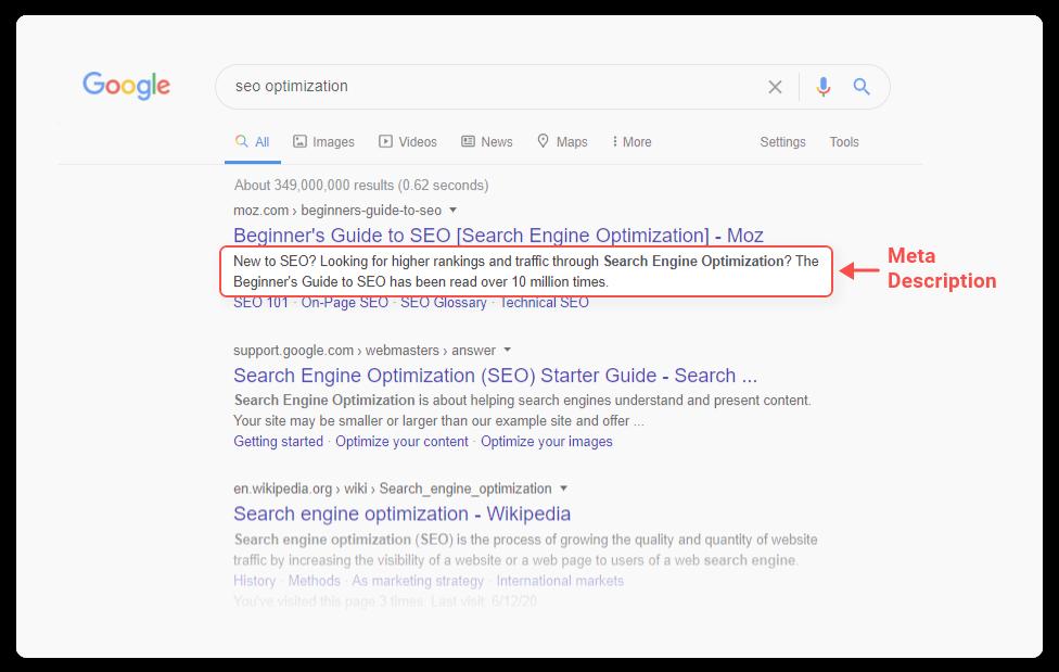 meta description on search results