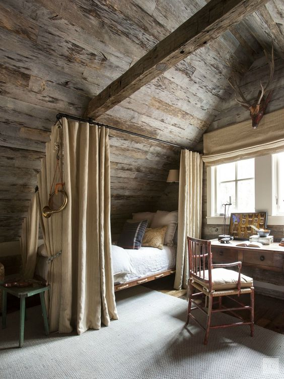 cabin style bed: bed with curtains