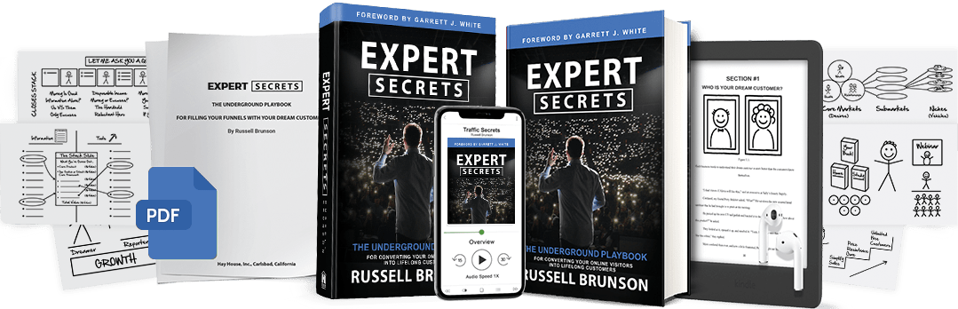 An image of Expert secrets book in different forms.