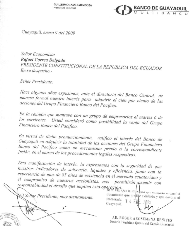 Interés del Banco de Guayaquil en adquirir la totalidad de las acciones del Grupo Financiero Banco del Pacífico