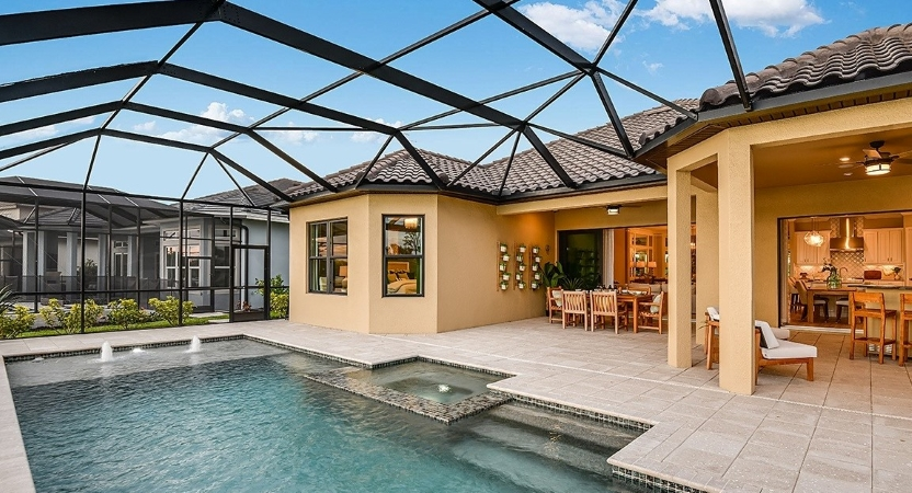 home with a pool in Lakewood Ranch, a planned community in Florida