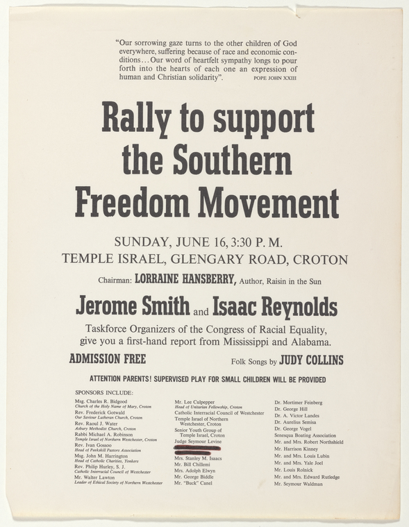 """""""Poster and program for Rally to Support the Southern Freedom Movement, at Croton, New York on June 16, 1963"""""""