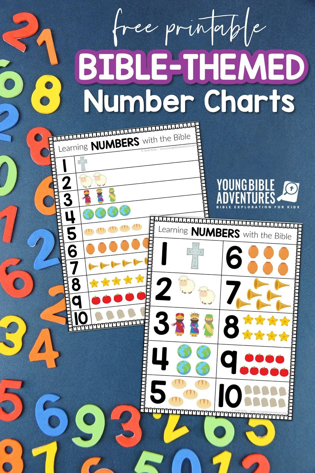 free Bible-Themed number charts homeschool curriculum