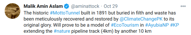 Tweet from the Special Assistant to PM on Climate Change.