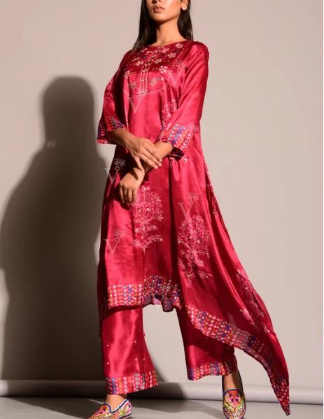 Scarlet Red Bandhani Kurta Set