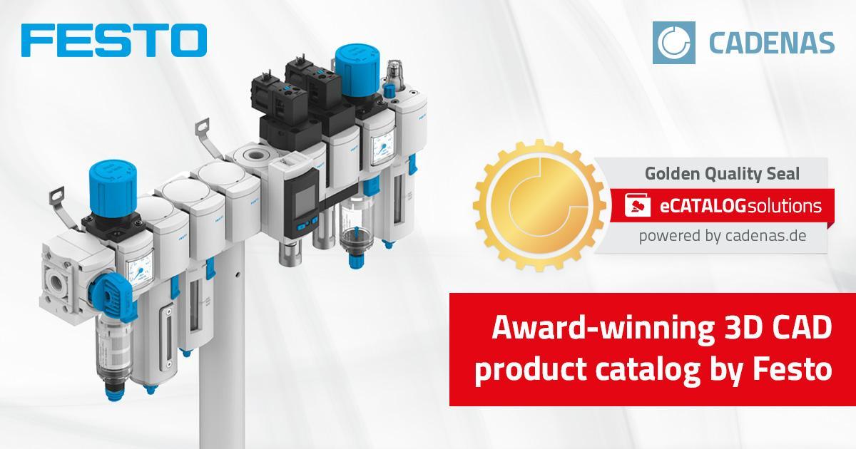 Festo shines with Golden Catalog Seal by CADENAS: Award-winning digital 3D  CAD product catalog