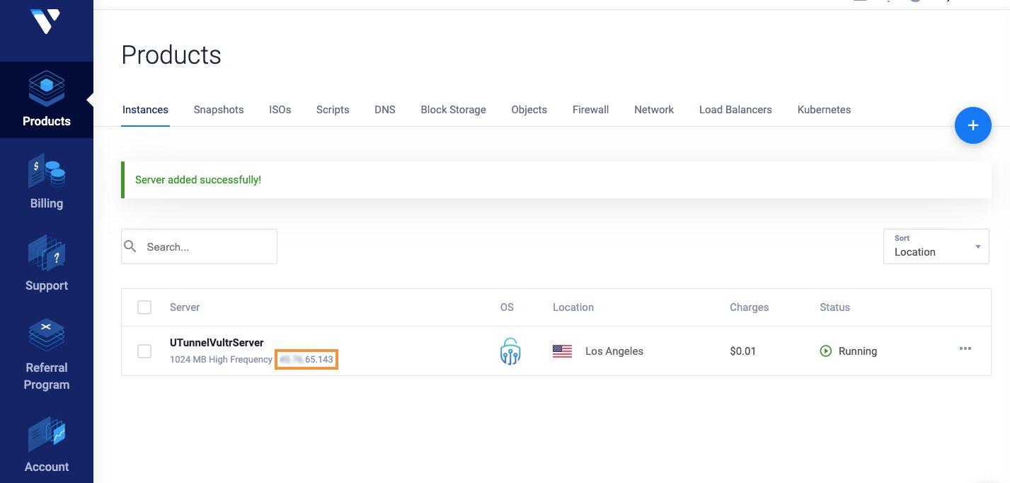 Vultr dashboard: instance details