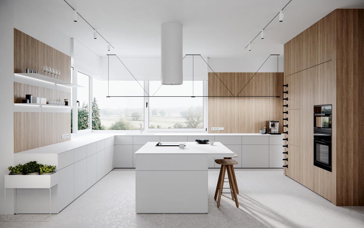 Xu hướng thiết kế nội thất tủ bếp nhập khẩu với cửa sổ lớn đem lại sự yêu thích cho khách hàng.