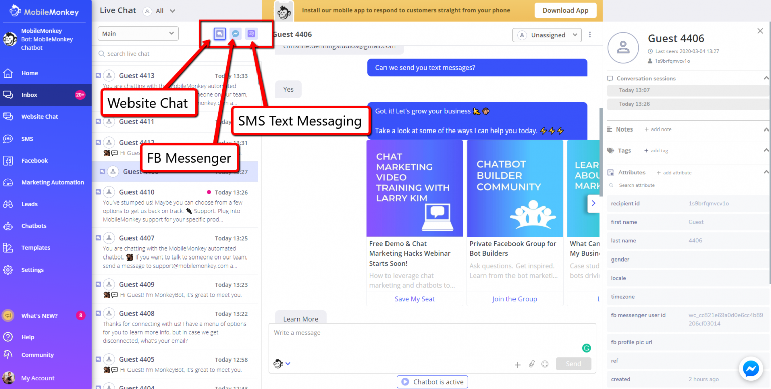 live chat software - unified multi-channel inbox