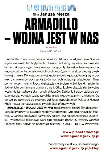 Tył ulotki filmu 'Armadillo - Wojna Jest W Nas'